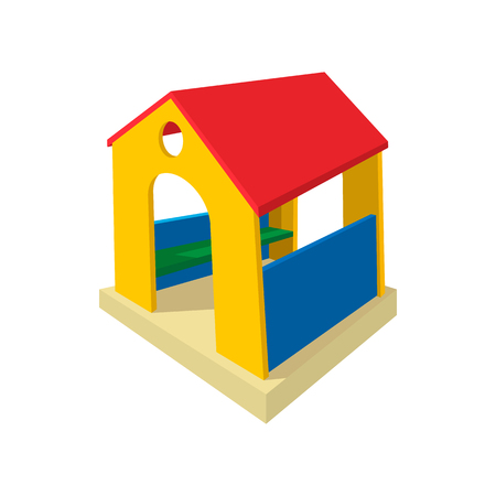 toy house: Toy house cartoon icon. Wooden little house. Playground equipment on a white