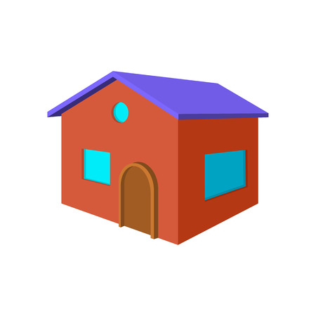 cottage: Red small cottage cartoon icon on a white background