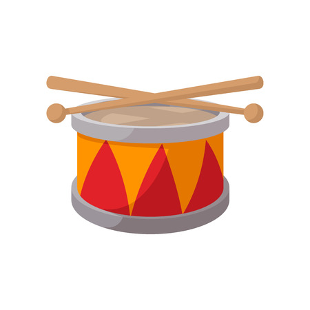 bateria musical: icono de tambor de juguete de dibujos animados sobre un fondo blanco