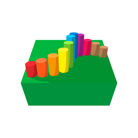 obstacle course: Obstacle course playground cartoon icon. Set of colored bars on a white background