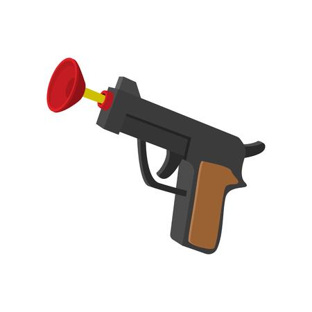 pistola de juguete con el icono de ventosa de dibujos animados sobre un fondo blanco