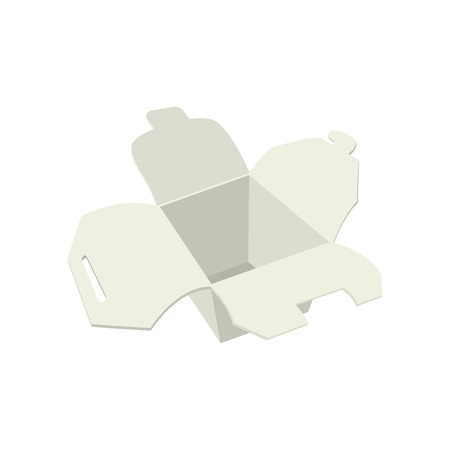 chinese food container: Empty white take out box open  cartoon icon on a white background