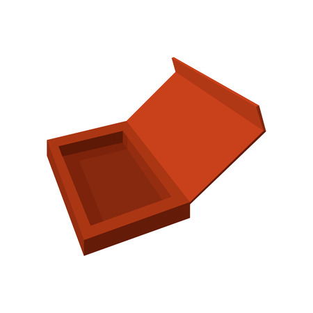 empty box: Empty brown chocolate box cartoon icon on a white background