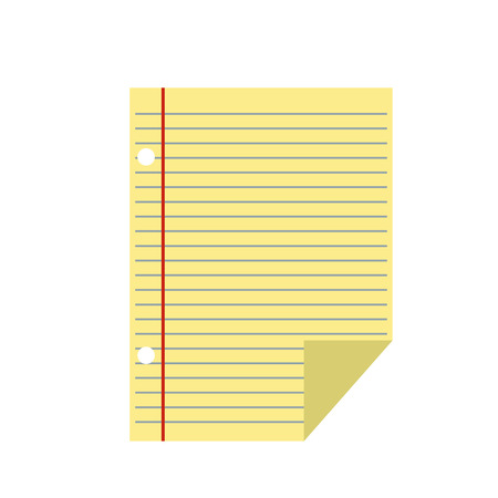 documents: Lined paper of notebook flat icon isolated on white background