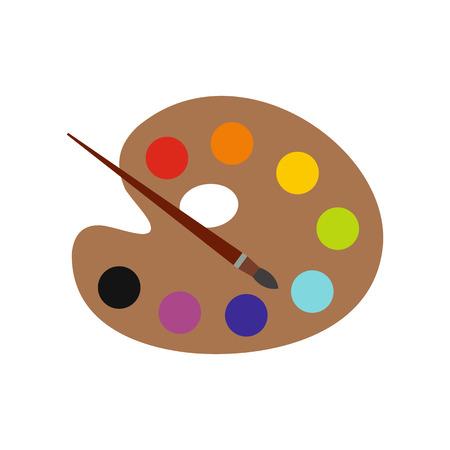 Art palette with paint brush flat icon isolated on white background Vektoros illusztráció