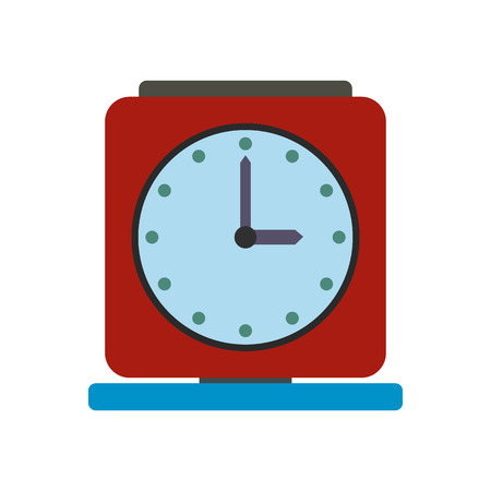 old time: Vintage alarm clock flat icon isolated on white background