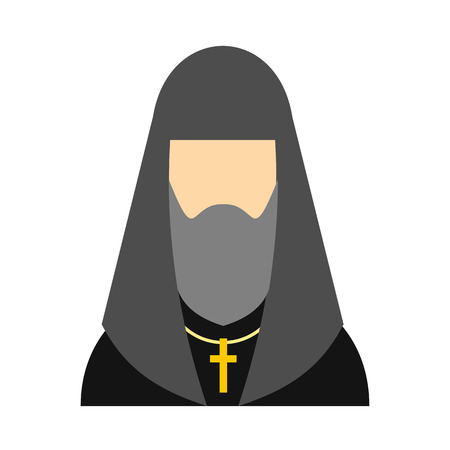 Christian russian priest flat icon. Portrait of orthodox bishop isolated on white background