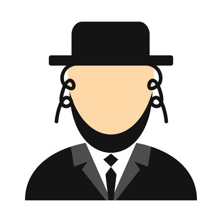 hassid: Rabbi flat icon. Jewish man isolated on white background