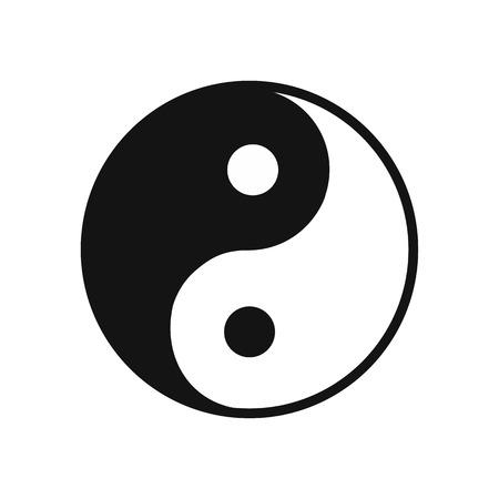armonia: Yin yang icono plana aislada en el fondo blanco