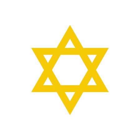 jewish star: Yellow david star flat icon isolated on white background