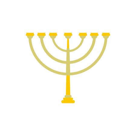 hanukkah menorah: Gold hanukkah menorah flat icon isolated on white background