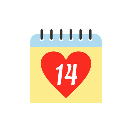 14 of february: 14 February calendar flat icon isolated on white background Illustration
