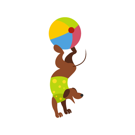 balancing act: Dog ball balancing act icon isolated on white background Illustration