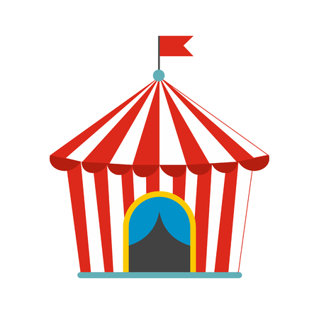 tent: Vintage circus tent flat icon isolated on white background
