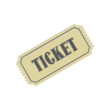 single seat: Vintage ticket flat icon isolated on white background Illustration