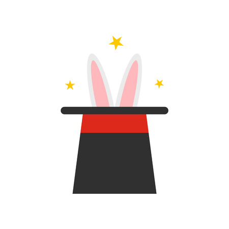 magician hat: Rabbit in magician hat icon isolated on white background