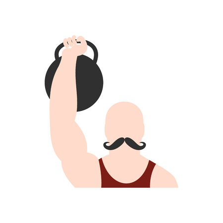 circus performer: Retro circus athlete flat icon. Strong circus performer isolated on white background
