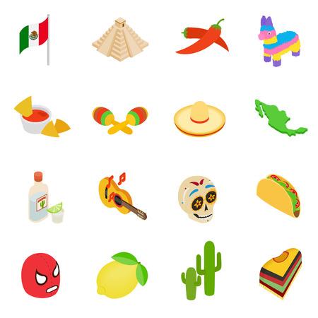 enchiladas: Mexico isometric 3d icons set isolated on white background