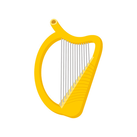 the harp: Icono de arpa de dibujos animados sobre un fondo blanco