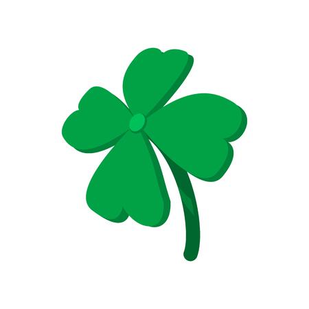 four leaf: Four leaf clover cartoon icon on a white background Illustration