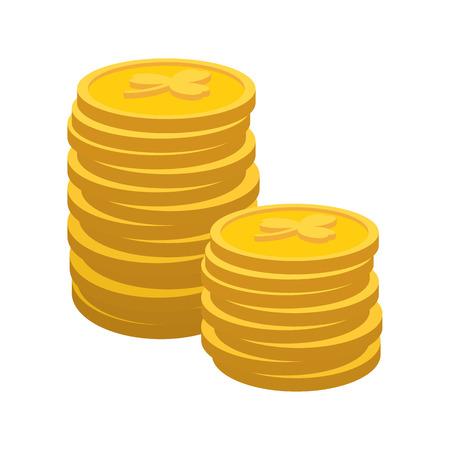 Chanceux icône de bande dessinée de pièces d'or sur un fond blanc