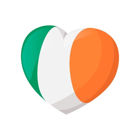 irish pride: Heart in irish colors cartoon icon on a white background