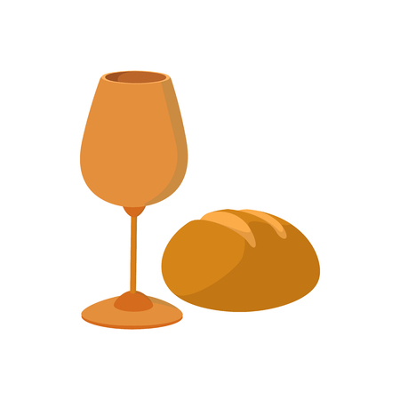 bread and wine: Chalice with wine, piece of bread cartoon icon on a white background Illustration