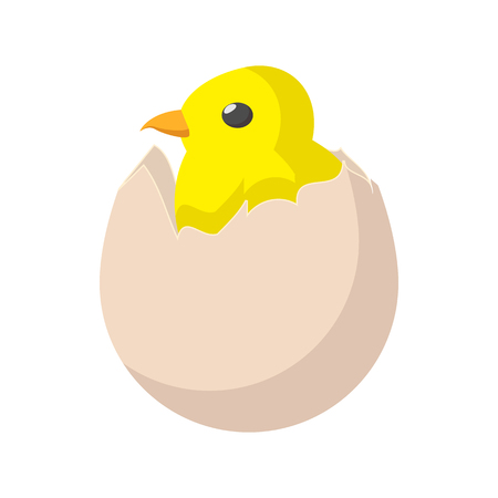 hatched: Yellow newborn chicken hatched from the egg cartoon icon on a white background