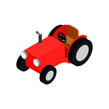 4wd: Red farmers car isometric 3d icon on a white background