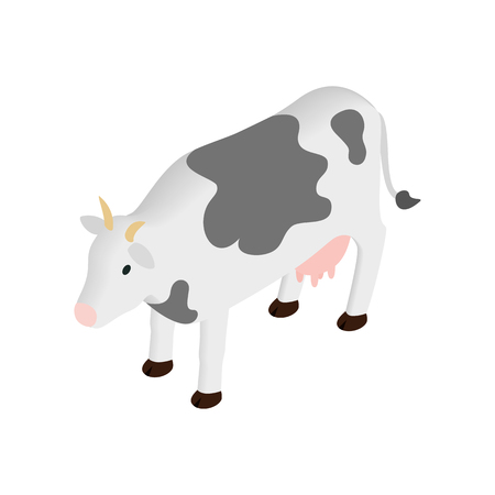 cows: Spotted cow isometric 3d icon on a white background