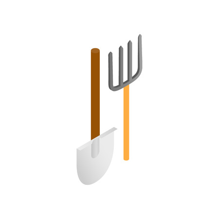 pitchfork: Shovel and pitchfork isometric 3d icon on a white background