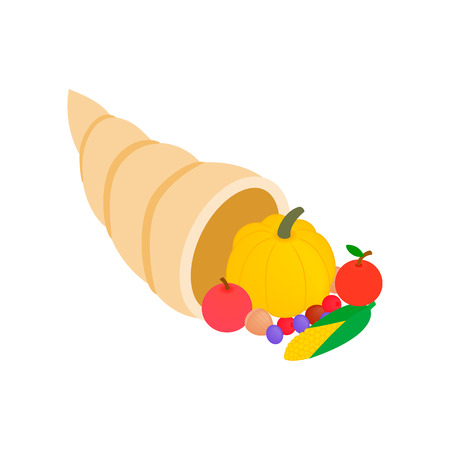 thanksgiving cornucopia: Thanksgiving cornucopia with fruits and vegetables isometric 3d icon on a white background