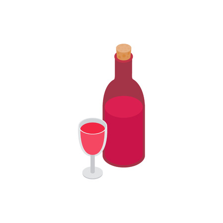 Bottle of wine and glass isometric 3d icon on a white background