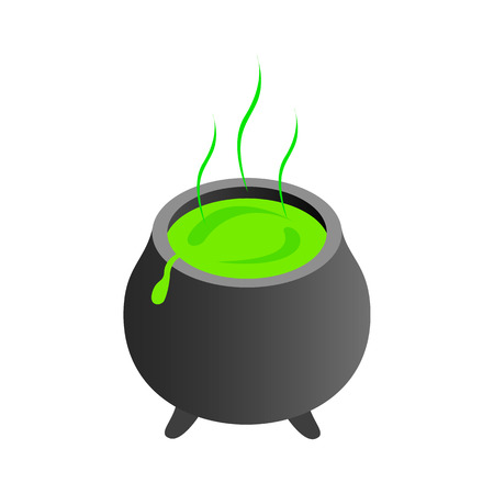 decoction: Witch cauldron with green potion, bubbling witches brew isometric 3d icon on a white background