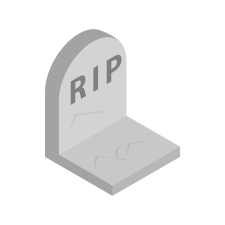 stone tombstone: Tombstone with RIP isometric 3d icon on a white background