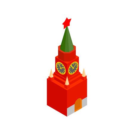 spasskaya: Spasskaya tower of Moscow Kremlin isometric 3d icon on a white background Illustration