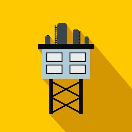 oil platform: Oil platform flat icon on a yellow background Illustration