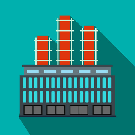 electricidad industrial: Planta de edificio industrial icono de plano sobre un fondo azul