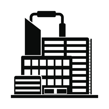 chemical plant: Oil refinery or chemical plant black simple icon isolated on white background Illustration