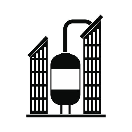Oil refinery or chemical plant black simple icon