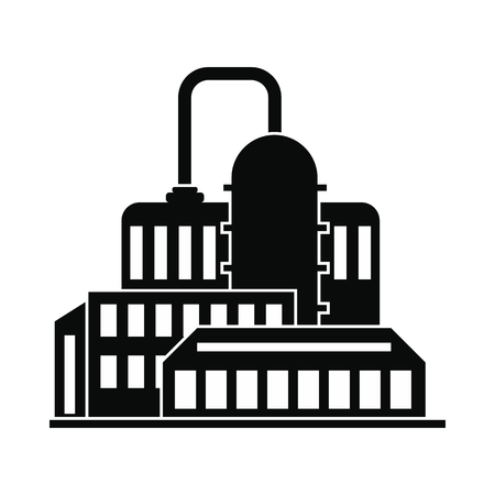 chemical plant: Oil refinery or chemical plant black simple icon