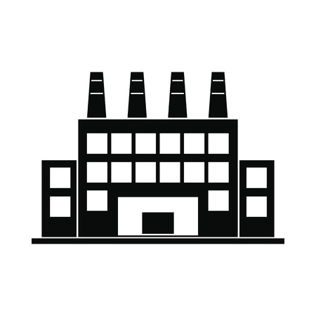 electricidad industrial: Planta de edificio industrial simple icono negro aislado en el fondo blanco