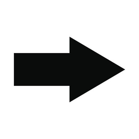 Strzałka w prawo czarna ikona prosta na białym tle