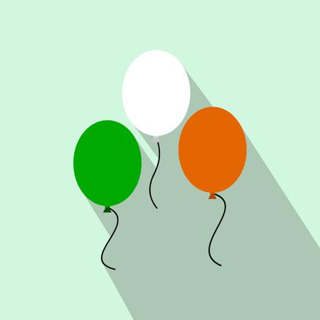 irish pride: Balloons in irish colors flat icon on a light blue background