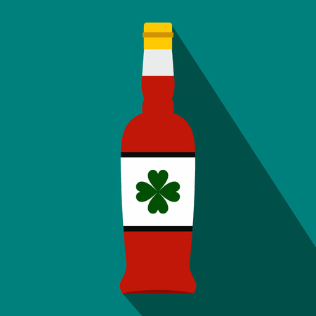 irish pub label: Beer bottle with a clover on the label flat icon on a blue background