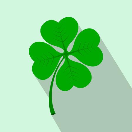 four leaf: Four leaf clover flat icon on a light blue background