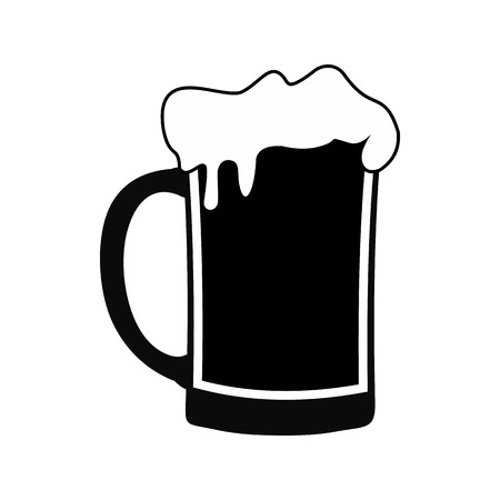 Mug of beer black simple icon isolated on white background