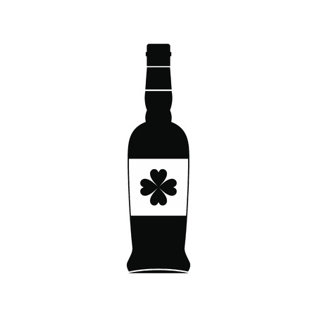 irish pub label: Beer bottle with a clover on the label black simple icon Illustration