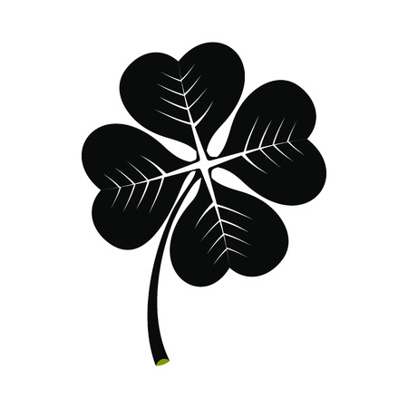 four leaf: Four leaf clover black simple icon isolated on white background