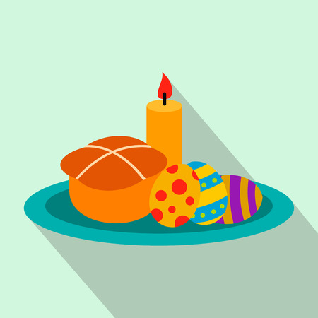 easter candle is burning: Easter cake with eggs and burning candle flat icon on a light blue background